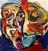 Karel Appel Head With Flower Painting, 1967
