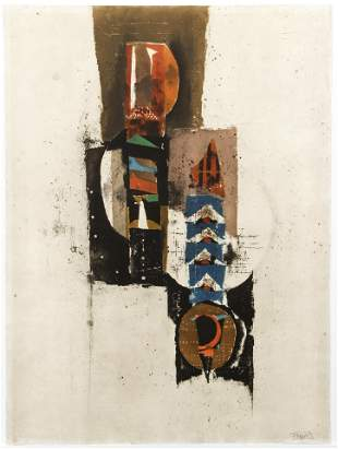 Johnny Friedlaender Untitled Abstract Aquatint Etching