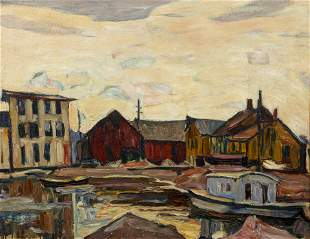 Abraham Manievich 1925 oil Harbour in Winter