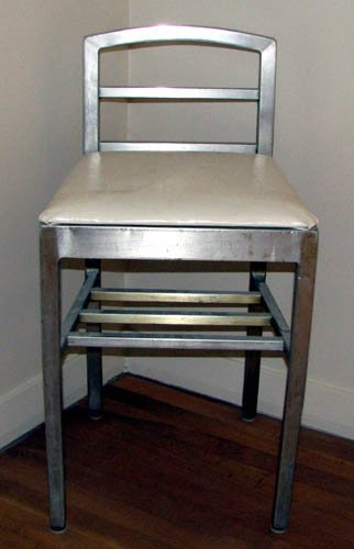 513: Alcoa Aluminum Chair with White Vinyl Upholstery