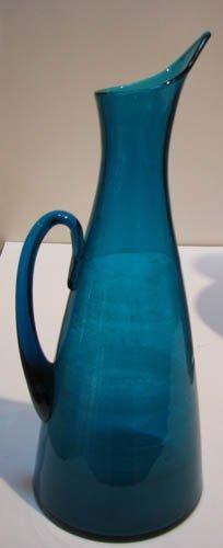 516: large Blenko Blue glass pitcher