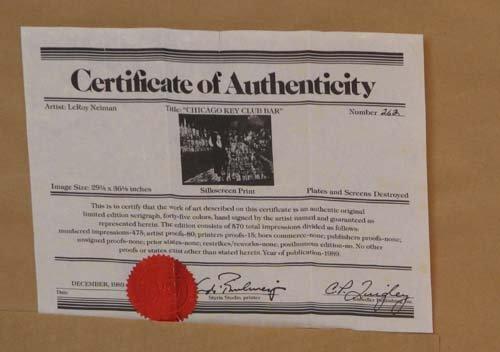 717: LeRoy Neiman signed Chicago Key Club Bar - 3