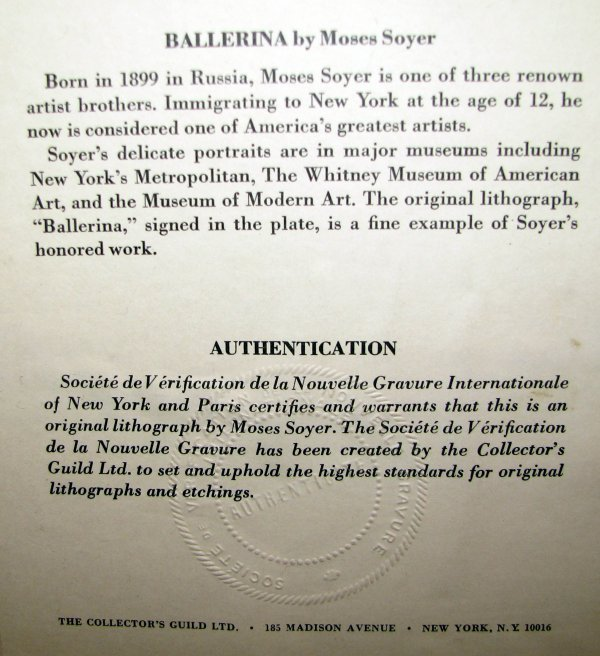 762: Moses Soyer lithograph Ballerina - 3