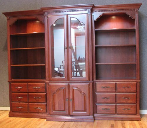 508A: Three Piece Cherry Wall Display Unit with Lightin