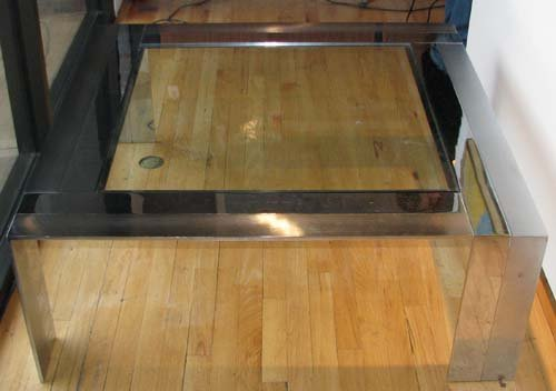 508B: Modern Chrome and Glass Table