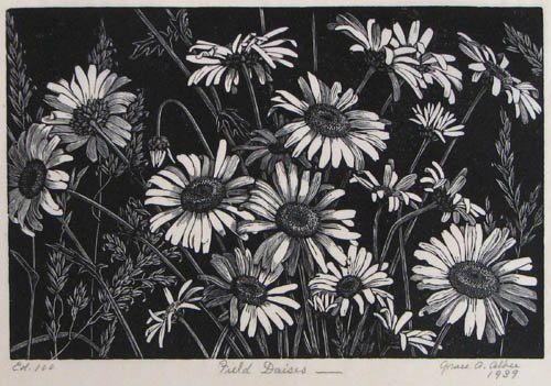 4: Grace Albee 1939 wood engraving Field Daises