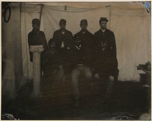 284: Civil War Tin Type of 7 Soldiers, 5 African Americ
