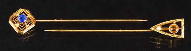 Pair of Antique 10K Gold Stick Pins