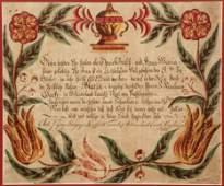 Johann Georg Busyaeger 1825 Fraktur Folk Art