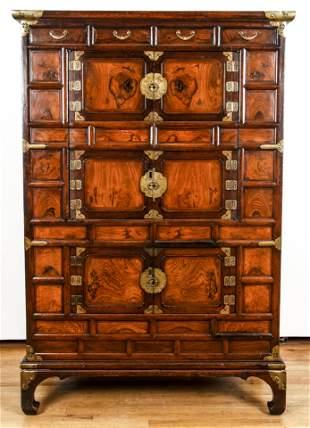Highly Decorative Antique Korean Wood Armoire