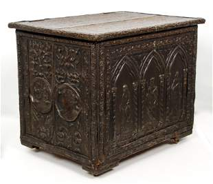 Antique Wood Chest Hammered Metal Overlay and Trim