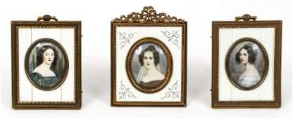 Three European Portrait Miniatures