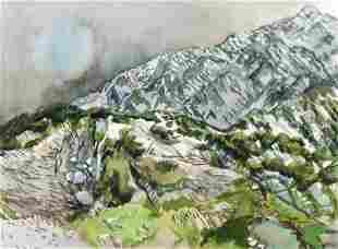 Henry Koerner Watercolor Mountain Range 1979