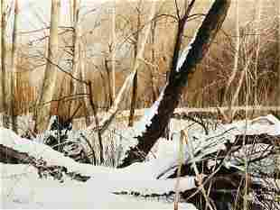 Charles Pitcher Mingo Watercolor Painting Snowy Woods