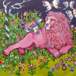 Marie Kelly Pink Lion Painting on Paper