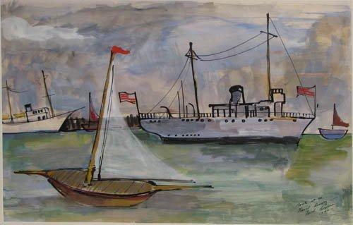 505: Dick Bowman watercolor Naval Armory 1940