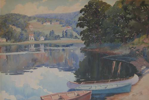 515: Henri Laussucq The Lake in Summer watercolor