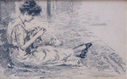 520: F. Luis Mora Study of a Knitting Woman