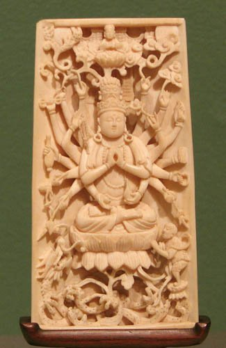710: Lavishly Carved Ivory Buddha Table Screen