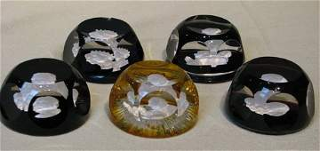 757: 5 Baccarat Cameo Collection Paperweights