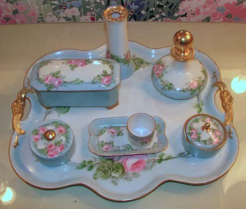 796: Handpainted French Limoges porcelain dresser set