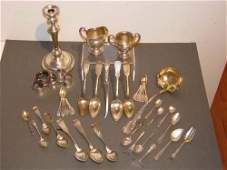 893 Assorted Sterling serving utensils with Candlestic