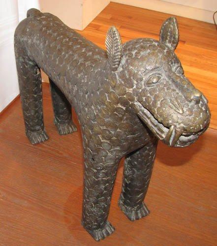 2: pair cast African Bronze Lions
