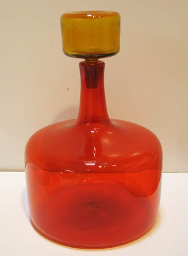 12: Large Blenko Amberina Decanter with Stopper