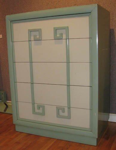 """14: Kittinger """"Mandarin"""" chest, original greenish grey"""