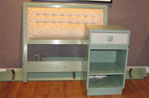 """16: two """"Mandarin"""" Twin Beds with matching Nightstand"""
