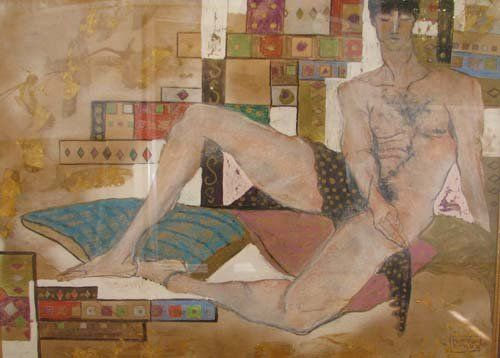 Fortson Darby Reclining Male Nude mixed media