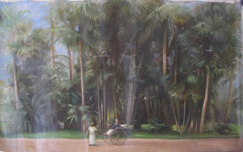 192: KK Hebbar Landscape with Rickshaw-Puller painting