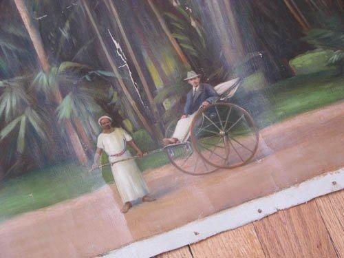 192: KK Hebbar Landscape with Rickshaw-Puller painting - 2