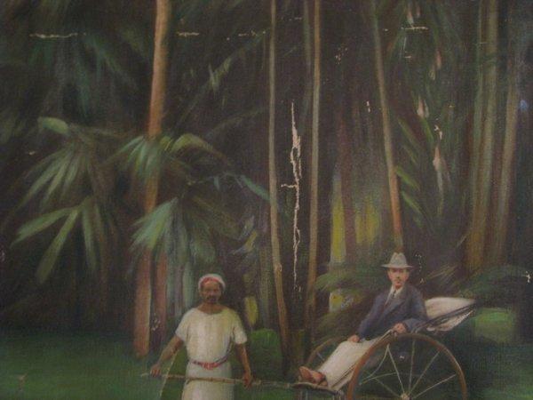 192: KK Hebbar Landscape with Rickshaw-Puller painting - 5