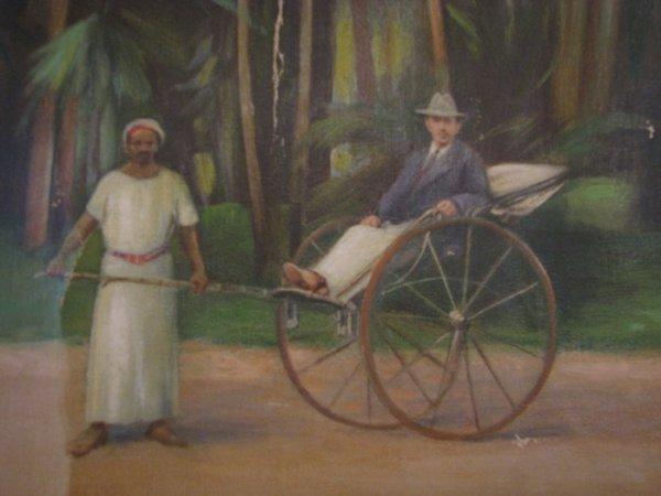 192: KK Hebbar Landscape with Rickshaw-Puller painting - 6
