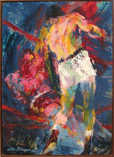 "251: LeRoy Neiman painting ""Boxing Scene"""