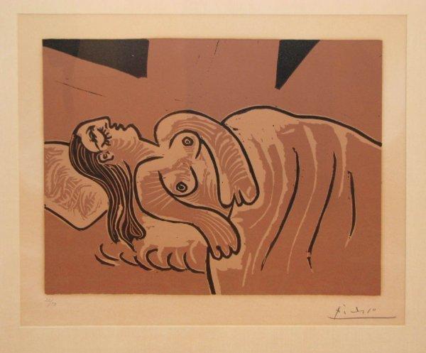 266: Picasso orig color linocut Femme Endormie, Sleepin