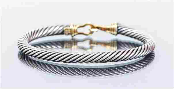 David Yurman 14k and Sterling Cable Bracelet