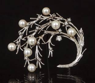 Karbra 14K Diamond and Pearl Brooch