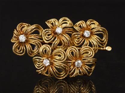 18K Diamond Floral Pin