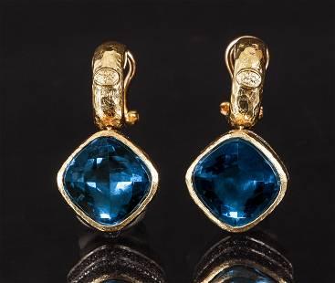Pr. 14K Topaz Diamond Earrings