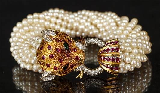 22K Leopard Bracelet Diamond Ruby Emerald Pearls