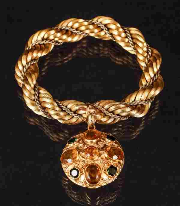 Vintage 18K Twisted Gold Bracelet with Citrines