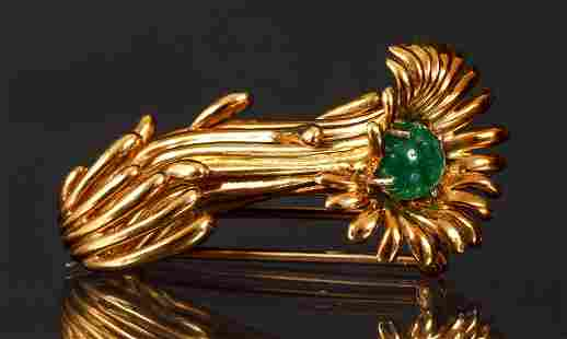 Jean Schlumberger Tiffany 18K Gold Fur Pin with Stone