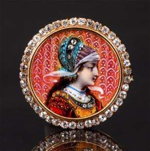 Antique 18K Diamond Guilloche Enamel Portrait Pin