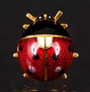 18K Enamel Ladybug Brooch Macklowe Gallery