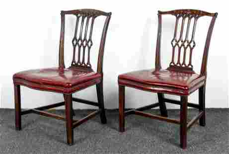 Pair Chippendale mahogany side chairs