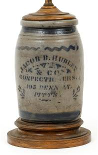 19th C. Pittsburgh Crock made into a desk lamp