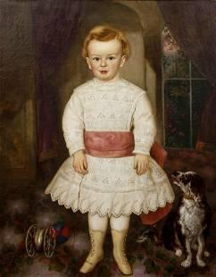 19th Century American Portrait School oil Young Boy
