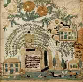 1827 American Needlework Sampler Mary Barnf